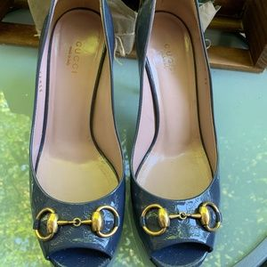 Gucci Blue Patent Leather Gold Horsebit Pumps